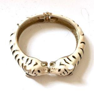 Tiger Hinged Bracelet White black
